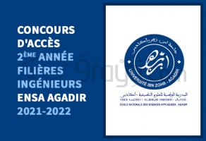 Concours d'accès en 2ème année des filières Ingénieurs de l'ENSA Agadir 2021-2022